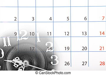 Collage with clock and calendar