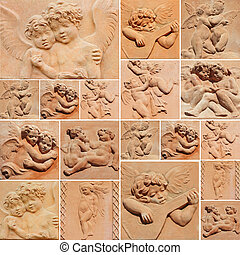 collage with decorative reliefs with angels in tuscan terracotta