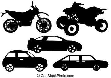 Collage with different automobiles isolated on white