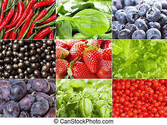 collage with different fruits, berries and vegetables