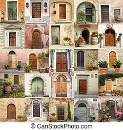 collage with doors