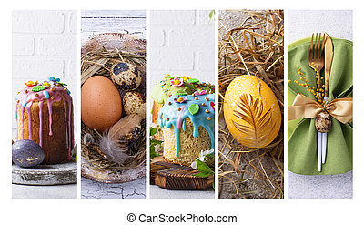 Collage with Easter cakes and eggs