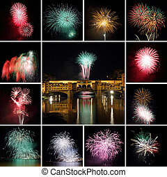 collage with fireworks in Florence, Italy