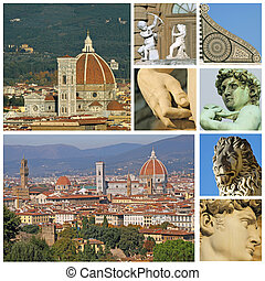 collage with florentine touristic attractions, Florence, Tuscany, Italy, Europe