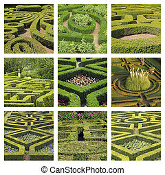 collage with geometric italian gardens