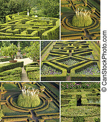 collage with geometric italian gardens, Tuscany, Europe