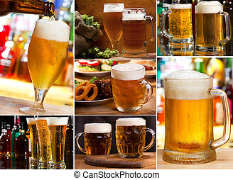 collage with glasses of beer - collage with different...