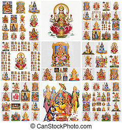 collage with hindu gods as: Lakshmi, Ganesha, Hanuman, Vishnu, Shiva, Parvati, Durga, Buddha, Rama, Krishna