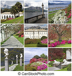 collage with images italian garden
