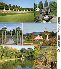 collage with  images of Boboli Gardens in Florence, Italy, Europe