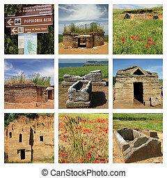 collage with images of etruscan tombs in  Archeological park of Baratti and Populonia, Tuscany ,  Italy , Europe