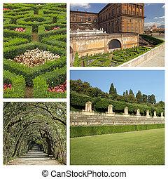 collage with images of florentine monumental Boboli Gardens, Unesco World Heritage site, Tuscany, Italy, Europe