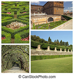 collage with images of florentine monumental Boboli Gardens,...