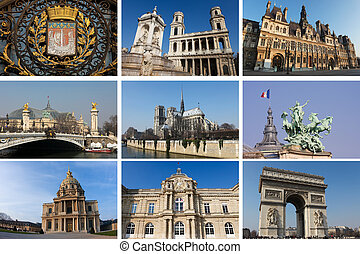 Collage with landmarks of Paris