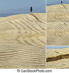 collage with  landscape of Crete Senesi, Tuscany , Italy, Europe