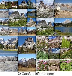 collage with landscape of italian mountains Dolomit