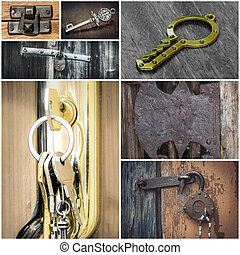 Collage with locks and keys