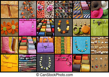 collage with many fashionable accessories - group of ...