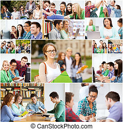 collage with many pictures of college students