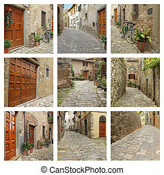 collage with old narrow streets of Tuscan village,...
