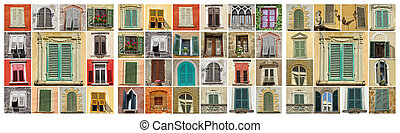 collage with old windows