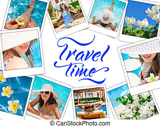 collage with photos Happy fashion woman rest on the beach and words travel time