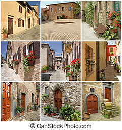 collage with picturesque italian small town streets