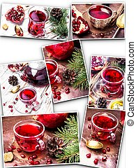 collage with pomegranate tea