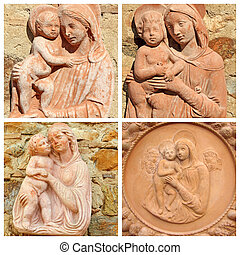 collage with reliefs with Madonna and child
