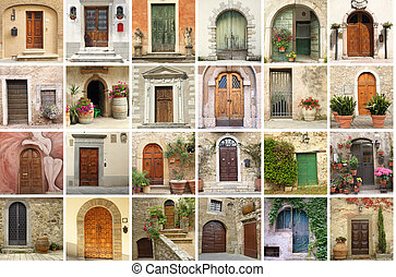 collage with retro doors