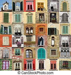 collage with retro windows