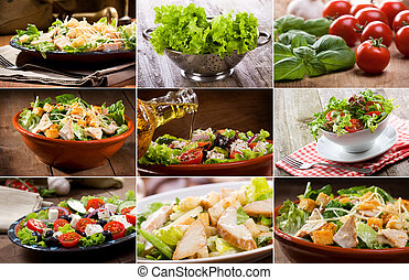 collage with salad - collage with different salad
