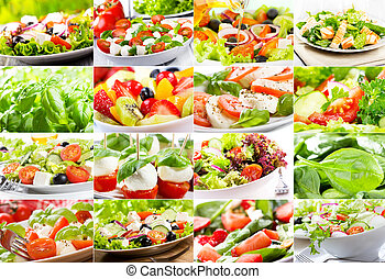collage with salad - collage with various salad