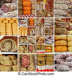 collage with sausages and cheese - on italian market, ...