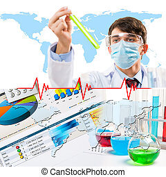 Collage with scientist in laboratory