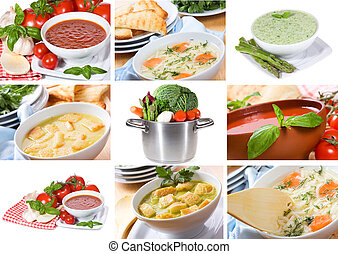 collage with soup