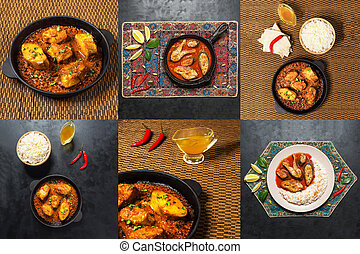 Collage with spicy and hot Bengali fish curry.