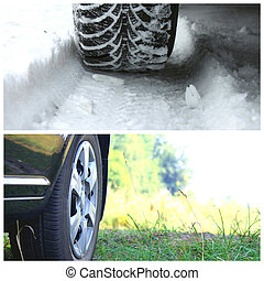 Collage with two tires: winter tire on snow background and summer tire on grass background