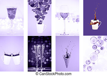 Collage with ultra violet toned images. Pantone color of the year concept. Vertical drinks and levitaion fantasies collection