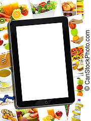 Collage with various healthy food and tablet with blank screen