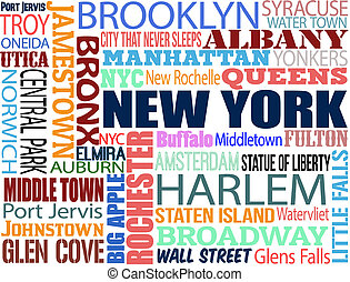 Collage with various words with New York boroughs and...