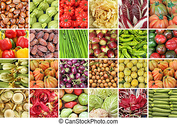 collage with vegetables and fruits