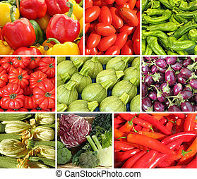 collage with vegetables