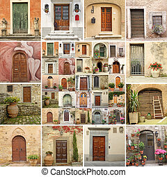 collage with vintage doors in Italy