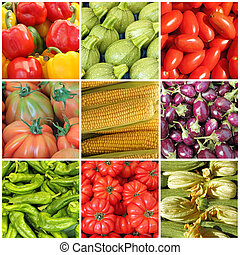 collage with whole different vegetables on farmer market, ...