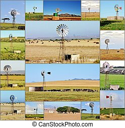 windmill water pump - Collage with windmill water pumps...
