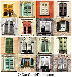 collage with windows and shutters - collage with antique ...