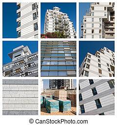 collage, wohnhaeuser, bauen konstruktion, standort