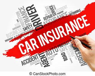 collage, woord, auto, wolk, verzekering