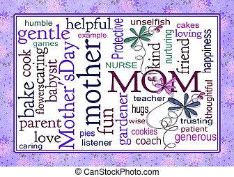 collage, woord, kunst, dag, moeder